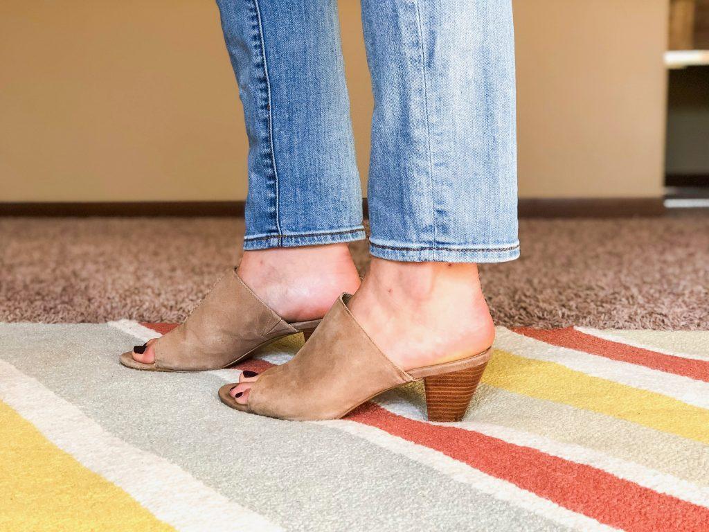Tall Girl Straight Leg Jeans with Kitten Heel Mules