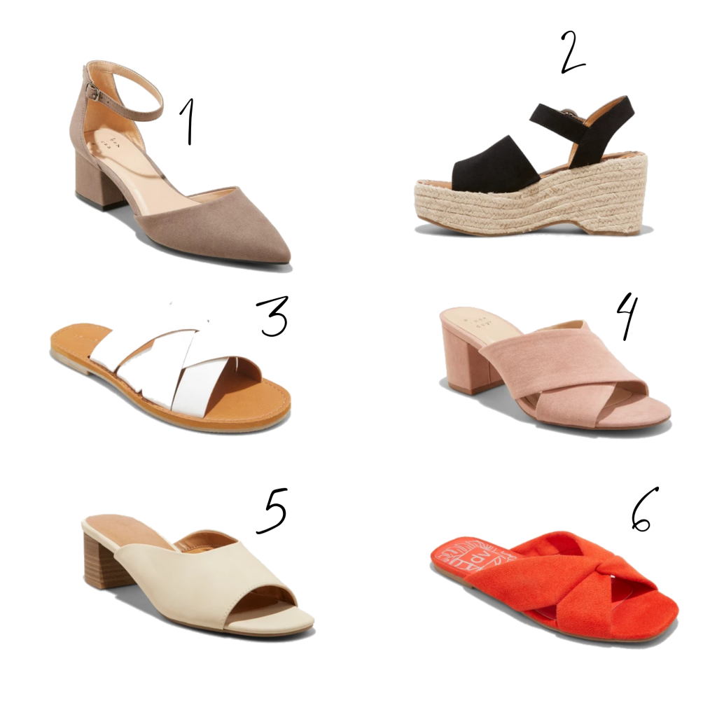 A variety of women's spring shoes (heels, wedges, mules, sliders) available in size 12 at Target