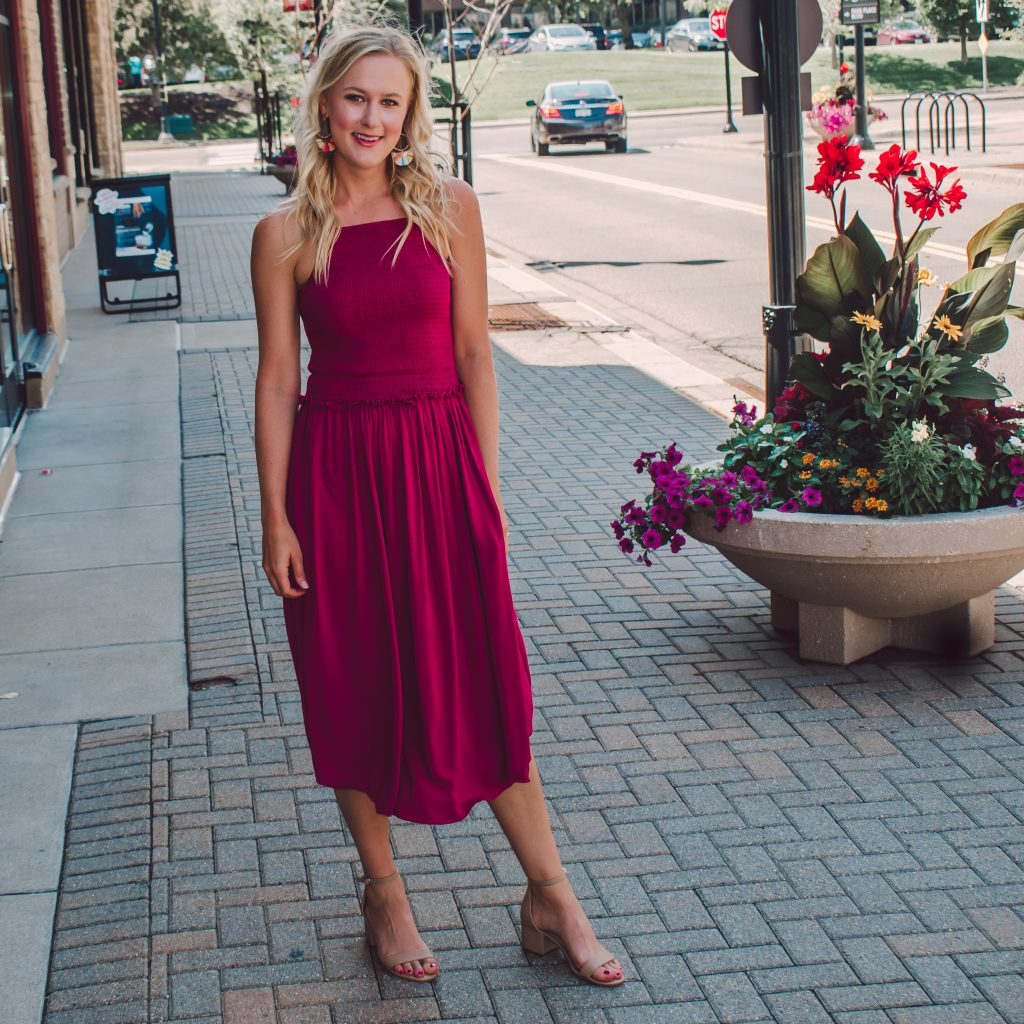 Raspberry colored midi dress for tall girls