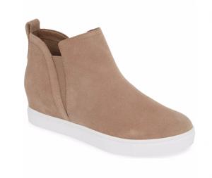 Blondo Georgette Waterproof Hidden Wedge Sneaker in Mushroom Suede