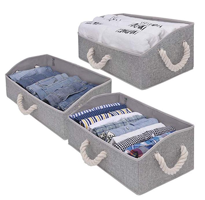 Cotton Fabric Baskets for Closet Shelves