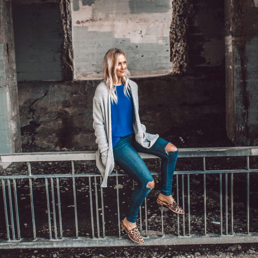 Gray Knit Cardigan - Amalli Talli