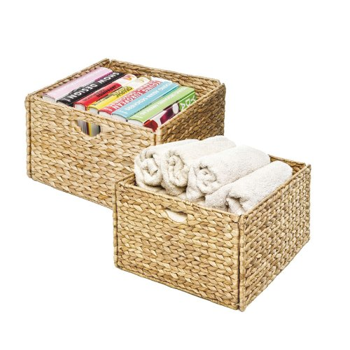 Seville Classics Foldable Handwoven Water Hyacinth Cube Storage Basket